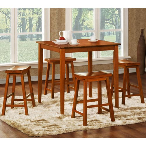 Oak Five-Piece Pub Set with 24-Inch Stools